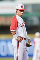 Evan Mendoza (18) of the North Carolina State Wolfpack on defense against the Boston College Eagles in Game Two of the 2017 ACC Baseball Championship at Louisville Slugger Field on May 23, 2017 in Louisville, Kentucky. The Wolfpack defeated the Eagles 6-1. (Brian Westerholt/Four Seam Images)