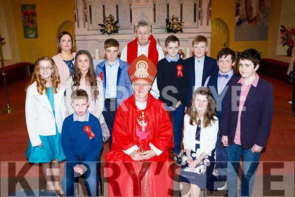 Kilgobnet NS pupils with Bishop Ray Browne, Fr Fergal Ryan and teacher Maura O'Connor at their Confirmation in St Marys church Beaufort on Tuesday Front row l-r: Michael Lane, Leah Callan. Back row: Orla O'Sullivan, Ellie O'Leary, Gary O'Sullivan, Darragh O'Connor, Michael O'Shea, Thomas McIntyre and Daniel Hayes