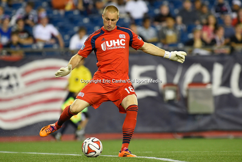 June 28, 2014 - Foxborough, Massachusetts, U.S. - New England Revolution goalkeeper Brad Knighton (18) kicks the ball during the MLS game between the Philadelphia Union and the New England Revolution held at Gillette Stadium in Foxborough Massachusetts.  Philadelphia defeated New England 3-1.  Eric Canha/CSM