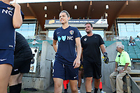 Cary, North Carolina  - Saturday August 05, 2017: Nora Holstad and Nathan Thackeray prior to a regular season National Women's Soccer League (NWSL) match between the North Carolina Courage and the Seattle Reign FC at Sahlen's Stadium at WakeMed Soccer Park. The Courage won the game 1-0.