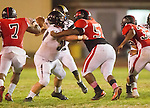 Inglewood, CA 10/09/14 - \p57\ and Kalin Spinks (Morningside #52) in action during the Palos Verdes Peninsula vs Morningside CIF Varsity football game at Coleman Field in Inglewood.  Peninsula defeated Morningside 24-13.