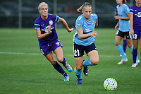 Piscataway, NJ - Wednesday Sept. 07, 2016: Kaylyn Kyle, Leah Galton during a regular season National Women's Soccer League (NWSL) match between Sky Blue FC and the Orlando Pride FC at Yurcak Field.