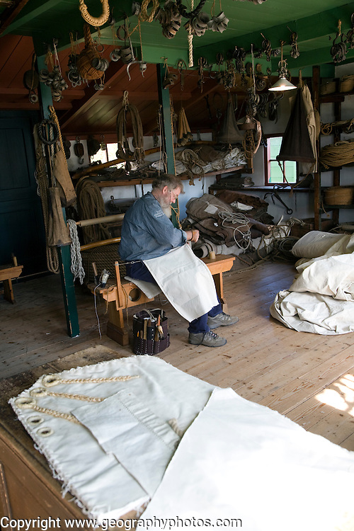 Sailmaker demonstration in workshop, Zuiderzee museum, Enkhuizen, Netherlands