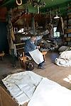 Sailmaker demonstration in workshop, Zuiderzee museum, Enkhuizen, Netherlands