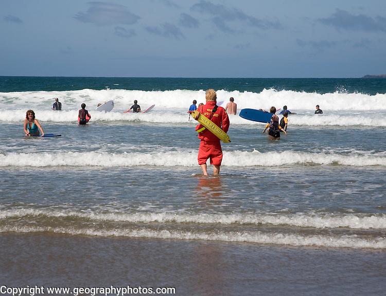 Lifeguard Whitesands beach St Davids Pembrokeshire Wales