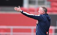 15th July 2020; Ashton Gate Stadium, Bristol, England; English Football League Championship Football, Bristol City versus Stoke City; Michael O'Neill Manager of Stoke City gestures to his team