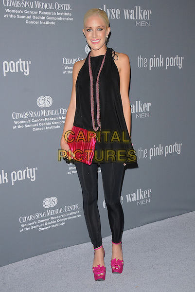 HEIDI MONTAG.Attends The 4th Annual Pink Party held at Santa Monica Airport Hanger 8 in Santa Monica, California, USA, .September 13th 2008.                                                                     .full length black top halterneck  pink clutch bag shoes platforms heels sandals leggings zips necklace .CAP/DVS.©Debbie VanStory/Capital Pictures