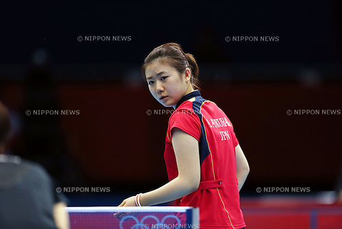 Ai Fukuhara (JPN), .JULY 31, 2012 - Table Tennis : .Ai Fukuhara of Japan competes in the Women's Singles Quarterfinals at ExCeL during the London 2012 Olympic Games in London, UK. (Photo by Koji Aoki/AFLO SPORT)