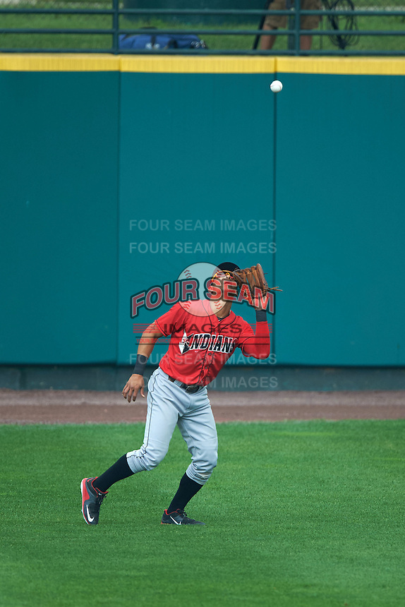 Indianapolis Indians outfielder Gorkys Hernandez (7) catches a fly ball during a game against the Rochester Red Wings on June 10, 2015 at Frontier Field in Rochester, New York.  Indianapolis defeated Rochester 5-3.  (Mike Janes/Four Seam Images)