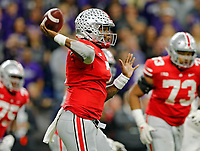Ohio State Buckeyes quarterback Dwayne Haskins Jr. (7) throws against Northwestern Wildcats during the 3rd quarter in the Big Ten Championship game in Indianapolis, Ind on December 1, 2018.  [Kyle Robertson/Dispatch]