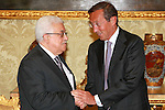 Palestinian President, Mahmoud Abbas (Abu Mazen) meets with the President of the Italian Parliament Gianfranco Fini in Rome on July 17, 2012. Photo by Thaer Ghanaim
