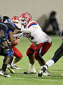 Manatee Hurricanes lineman Garrett Waiters #75 blocking during the first quarter of the Florida High School Athletic Association 7A Championship Game at Florida's Citrus Bowl on December 16, 2011 in Orlando, Florida.  The score at halftime is Manatee 17 - First Coast 0.  (Photo By Mike Janes Photography)
