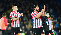 Lincoln City's Harry Anderson, left, and Lincoln City's Michael Bostwick applaud the fans at the final whistle<br /> <br /> Photographer Andrew Vaughan/CameraSport<br /> <br /> Emirates FA Cup Third Round - Everton v Lincoln City - Saturday 5th January 2019 - Goodison Park - Liverpool<br />  <br /> World Copyright &copy; 2019 CameraSport. All rights reserved. 43 Linden Ave. Countesthorpe. Leicester. England. LE8 5PG - Tel: +44 (0) 116 277 4147 - admin@camerasport.com - www.camerasport.com