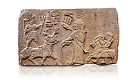 """Aslantepe Hittite relief sculpted orthostat stone panel. Limestone, Aslantepe, Malatya, 1200-700 B.C. Anatolian Civilisations Museum, Ankara, Turkey.<br /> <br /> Scene of king's offering drink and sacrifice to the god. The god is on the deer, with the bow attached to his shoulder and with a triple bundle of lightning in his hand. The king looks at the god, and makes the libation to the god while carrying a scepter with a curled end - lituus. Behind the king is a servant holding a goat for sacrifice to the god. Hieroglyphs read; """"God Parata, Strong King... """". <br /> <br /> Anatolian Civilizations Museum, Ankara, Turkey"""