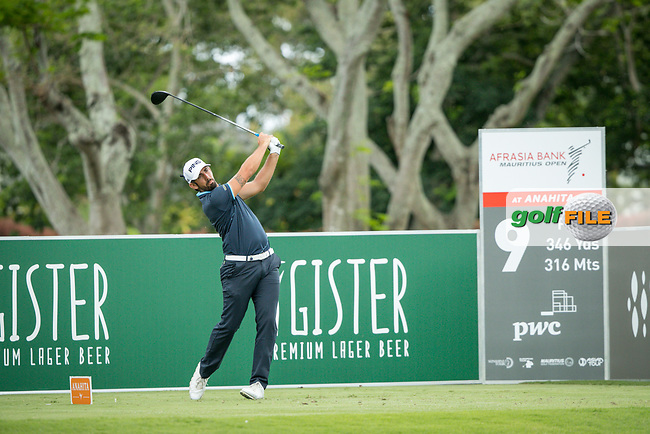 Matthieu Pavon (FRA) on the 9th tee during the 3rd round of the AfrAsia Bank Mauritius Open, Four Seasons Golf Club Mauritius at Anahita, Beau Champ, Mauritius. 01/12/2018<br /> Picture: Golffile | Mark Sampson<br /> <br /> <br /> All photo usage must carry mandatory copyright credit (&copy; Golffile | Mark Sampson)