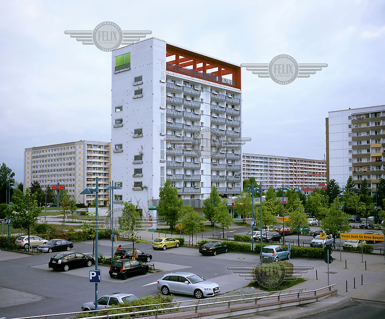 A renovated pre-fabricated tower block in Hoyerswerda-Neustadt. Once a socialist model town in the former GDR, Hoyerswerda-Neustadt is now the most rapidly shrinking city in Germany.