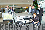 Colm Cooper launched the new Opel Mokka in Ahern's Garage Castleisland on Saturday l-r: Cormac Foley, John Cronin, Padraig Brick, Paul Ahern and Pat Ahern