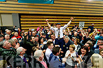 Michael Healy-Rae celebrating his election with supporters at the count centre in Killarney on Sunday last.