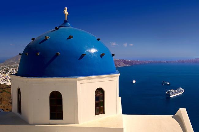Blue Domed church of Imerovigli, Santorini, Greece.