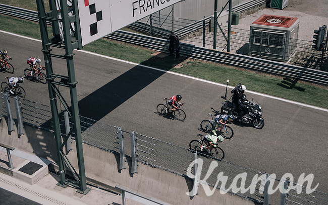the breakaway group racing on the Circuit de Spa-Francorchamps over F1's (most) legendary bend: Eau Rouge<br /> <br /> 104th Tour de France 2017<br /> Stage 3 - Verviers › Longwy (202km)