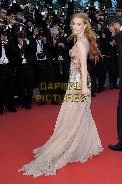 Jessica Chastain.'Lawless' screening at the 65th  Cannes Film Festival, France 19th May 2012.full length beige nude gold dress long maxi sequined sequin side back over shoulder rear behind .CAP/PL.©Phil Loftus/Capital Pictures.