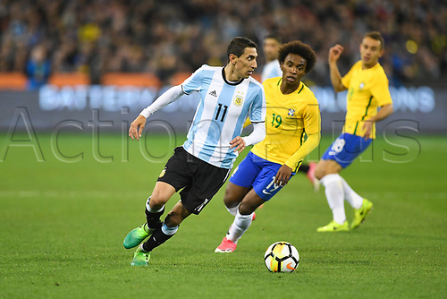 June 9th 2017, Melbourne Cricket Ground, Melbourne, Australia; International Football Friendly; Brazil versus Argentina; Angel Fabian Dimaria of Argentina turns toward goal