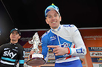 Arnaud Demare (FRA) FDJ celebrates on the podium after outsprinting Ben Swift (GBR) Team Sky to win the 2016 Milan-San Remo race, running 293km from Milan anf finishing on the Via Roma, San Remo, Italy. 19th March 2016.<br /> Picture: ANSA/Luca Zennaro | Newsfile<br /> <br /> <br /> All photos usage must carry mandatory copyright credit (© Newsfile | Luca Zennaro)