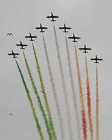 NAPOLI 28/03/2013 908 ANNIVERSARIO DELLA'ACCADEMIA AERONAUTICA .NELLA FOTO FRECCE TRICOLORI.FOTO CIRO DE LUCA..