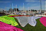 Drying Melges 24 sail at Santa Cruz Harbor