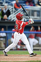 Batavia Muckdogs outfielder Miles Williams (26) at bat during a game against the Lowell Spinners on July 16, 2014 at Dwyer Stadium in Batavia, New York.  Lowell defeated Batavia 6-4.  (Mike Janes/Four Seam Images)