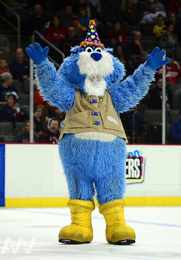 Oct 19, 2012; Toledo, OH, USA; Toledo Walleye mascot CatTrick against the Cincinnati Cyclones at Huntington Center: Mandatory Credit: Andrew Weber