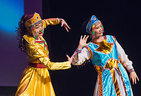 NWA Democrat-Gazette/BEN GOFF @NWABENGOFF<br /> Coco Liu (left) and Cathy Luo perform a Mongolian dance Saturday, Feb. 10, 2018, during the Chinese New Year Gala presented by the Chinese Association of Northwest Arkansas at Springdale Har-Ber High. The event celebrated the Year of the Dog with a dinner and a show featuring traditional and contemporary Chinese dance, music, fashion and more.