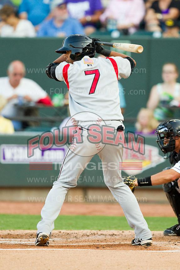 Erik Gonzalez (7) of the Carolina Mudcats at bat against the Winston-Salem Dash at BB&T Ballpark on July 25, 2013 in Winston-Salem, North Carolina.  The Mudcats defeated the Dash 5-4.  (Brian Westerholt/Four Seam Images)