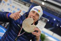 SCHAATSEN: HEERENVEEN: 03-02-2017, KPN NK Junioren, Junioren A Heren, winnaar 500m, Niek Deelstra, ©foto Martin de Jong