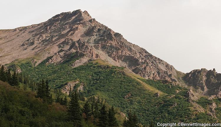 Mountain vistas abound as the train heads north through the Nenana Canyon.