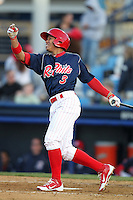 Reading Phillies second baseman Cesar Hernandez #3 during a game against the Portland Seadogs at FirstEnergy Stadium on April 7, 2012 in Reading, Pennsylvania.  Reading defeated Portland 4-1.  (Mike Janes/Four Seam Images)