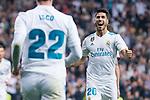 "Real Madrid Marco Asensio and Francisco Roman ""Isco"" celebrating a goal during La Liga match between Real Madrid and Eibar at Santiago Bernabeu Stadium in Madrid, Spain. October 22, 2017. (ALTERPHOTOS/Borja B.Hojas)"