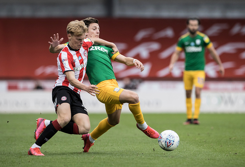 Preston North End's Josh Harrop competing with Brentford's Jan Zamburek (left) <br /> <br /> Photographer Andrew Kearns/CameraSport<br /> <br /> The EFL Sky Bet Championship - Brentford v Preston North End - Wednesday 15th July 2020 - Griffin Park - Brentford <br /> <br /> World Copyright © 2020 CameraSport. All rights reserved. 43 Linden Ave. Countesthorpe. Leicester. England. LE8 5PG - Tel: +44 (0) 116 277 4147 - admin@camerasport.com - www.camerasport.com