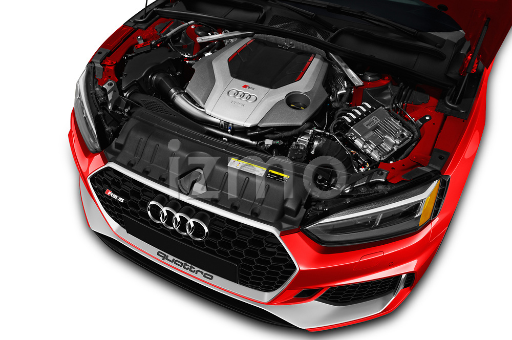 Car stock 2019 Audi RS5 4WD 2 Door Coupe engine high angle detail view