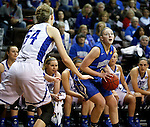 SIOUX FALLS MARCH 23:  Lauren Green #2 from Bentley University looks for the jumper as Tess Bruffey #54 from Lubbock Christian defends during their 2016 NCAA Women's DII Elite 8 Basketball Championship semifinal Wednesday night at the Sanford Pentagon in Sioux Falls, S.D. (Photo by Dick Carlson/Inertia)