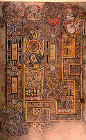 Visual Arts:  Book of Kells-- illuminated manuscript Gospel Book in Latin.  Permanently displayed in Trinity College Library, Dublin.  Photo '84.