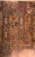Visual Arts:  Book of Kells-- illuminated manuscript Gospel Book in Latin.  Permanently displayed in Trinity College Library, Dublin.  Photo '84.