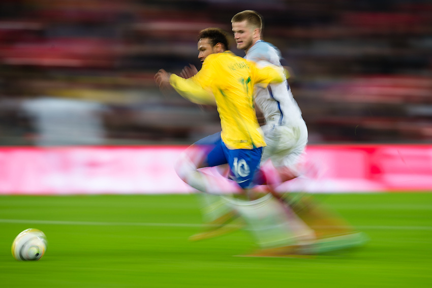 Brazil&rsquo;s Neymar Jr vies for possession with England's Eric Dier <br /> <br /> Photographer Craig Mercer/CameraSport<br /> <br /> The Bobby Moore Fund International - England v Brazil - Tuesday 14th November 2017 Wembley Stadium - London  <br /> <br /> World Copyright &copy; 2017 CameraSport. All rights reserved. 43 Linden Ave. Countesthorpe. Leicester. England. LE8 5PG - Tel: +44 (0) 116 277 4147 - admin@camerasport.com - www.camerasport.com