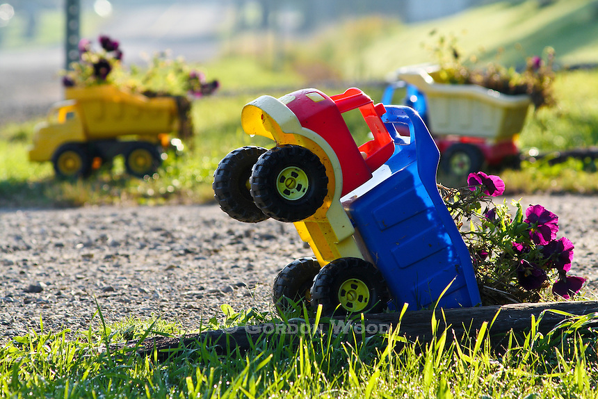 Flowers in a toy truck planter decorating driveway edge