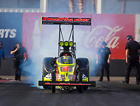 Feb 3, 2017; Chandler, AZ, USA; NHRA top fuel driver Troy Coughlin Jr during Nitro Spring Training preseason testing at Wild Horse Pass Motorsports Park. Mandatory Credit: Mark J. Rebilas-USA TODAY Sports