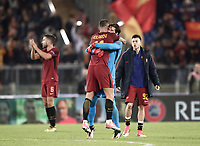 Football Soccer: UEFA Champions League AS Roma vs Chelsea Stadio Olimpico Rome, Italy, October 31, 2017. <br /> Roma's players celebrates after winning 3-0 the Uefa Champions League football soccer match between AS Roma and Chelsea at Rome's Olympic stadium, October 31, 2017.<br /> UPDATE IMAGES PRESS/Isabella Bonotto