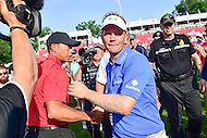 Bethesda, MD - June 26, 2016: Billy Hurley III (USA) is congratulated by Tiger Woods after winning the Quicken Loans National at the Quicken Loans National Tournament at the Congressional Country Club in Bethesda, MD, June 26, 2016.  (Photo by Don Baxter/Media Images International) (Photo by Philip Peters/Media Images International)