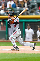 Kelby Tomlinson (21) of the Sacramento River Cats follows through on his swing against the Salt Lake Bees during the Pacific Coast League game at Smith's Ballpark on August 11, 2017 in Salt Lake City, Utah.The River Cats defeated the Bees 8-7. (Stephen Smith/Four Seam Images)