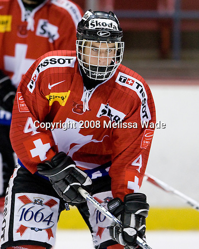 Samuel Erni (Switzerland - 4) - Team Sweden defeated Team Switzerland 3-1 in the 2008 Four Nations Cup third place game in the 1980 Arena on Sunday, November 8, 2008 in Lake Placid, New York.