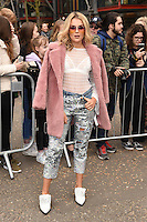 Tallia Storm<br /> arrives for the Topshop Unique AW17 show as part of London Fashion Week AW17 at Tate Modern, London.<br /> <br /> <br /> &copy;Ash Knotek  D3232  19/02/2017